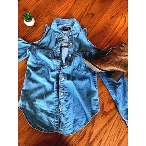 Forever 21 Cold Shoulder Chambray Shirt